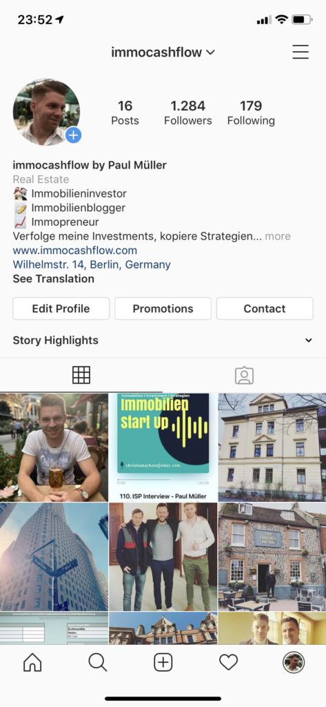 Immobilien-Ziele 2019: Hier sieht man einen Ausschnitt vom Instagram-Profil von immocashflow.