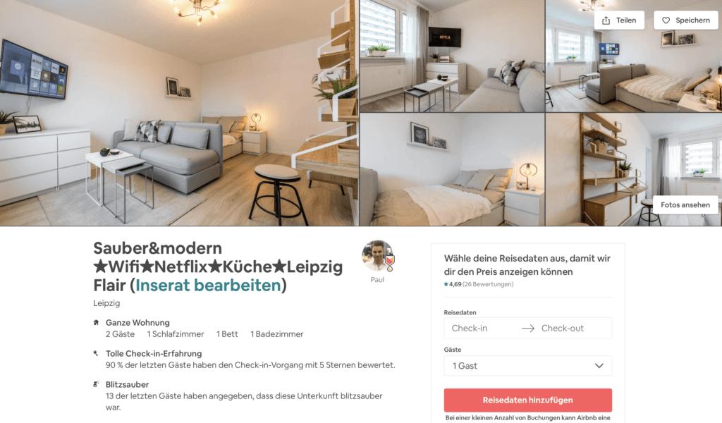 Airbnb Inserat in Leipzig mit Netflix