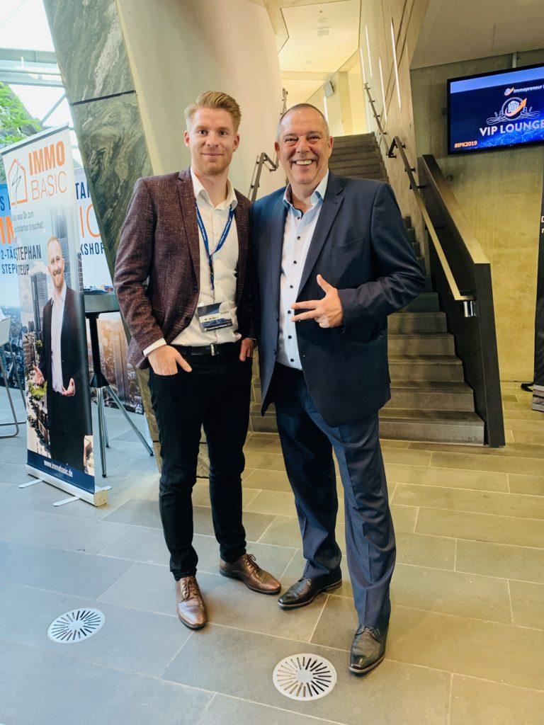 Paul von immocashflow mit Oliver Fischer auf dem Immopreneur Kongress 2019 in Darmstadt