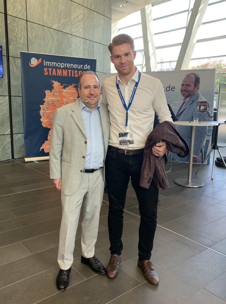 Paul von immocashflow mit Thomas Knedel auf dem Immopreneur Kongress 2019 in Darmstadt