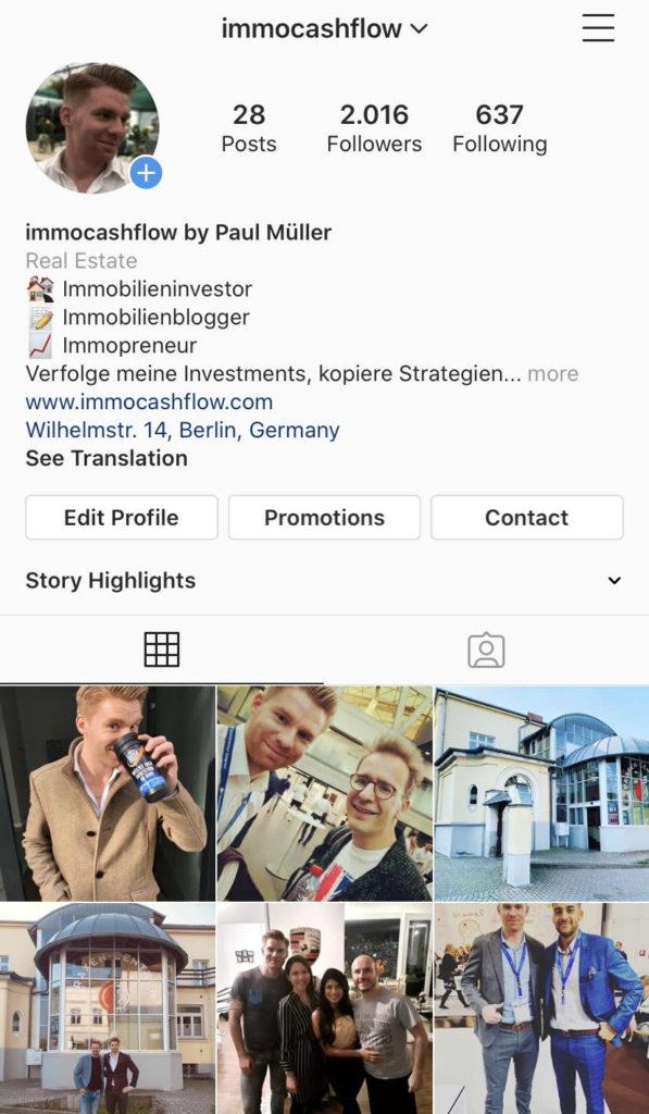 Screenshot vom immocashflow Instagram Account Ende 2019