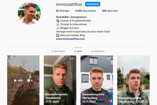 Baustellenupdates auf dem immocashflow Instagram Account