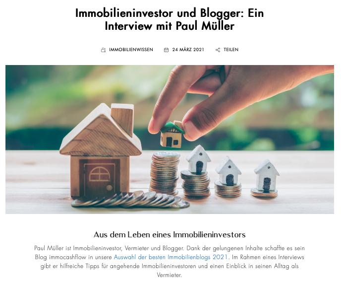Interview immocashflow   bester Immobilienblog in 2021
